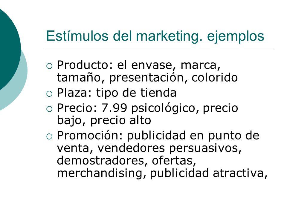 Estímulos del marketing. ejemplos Producto: el envase, marca, tamaño, presentación, colorido Plaza: tipo de tienda Precio: 7.99 psicológico, precio ba