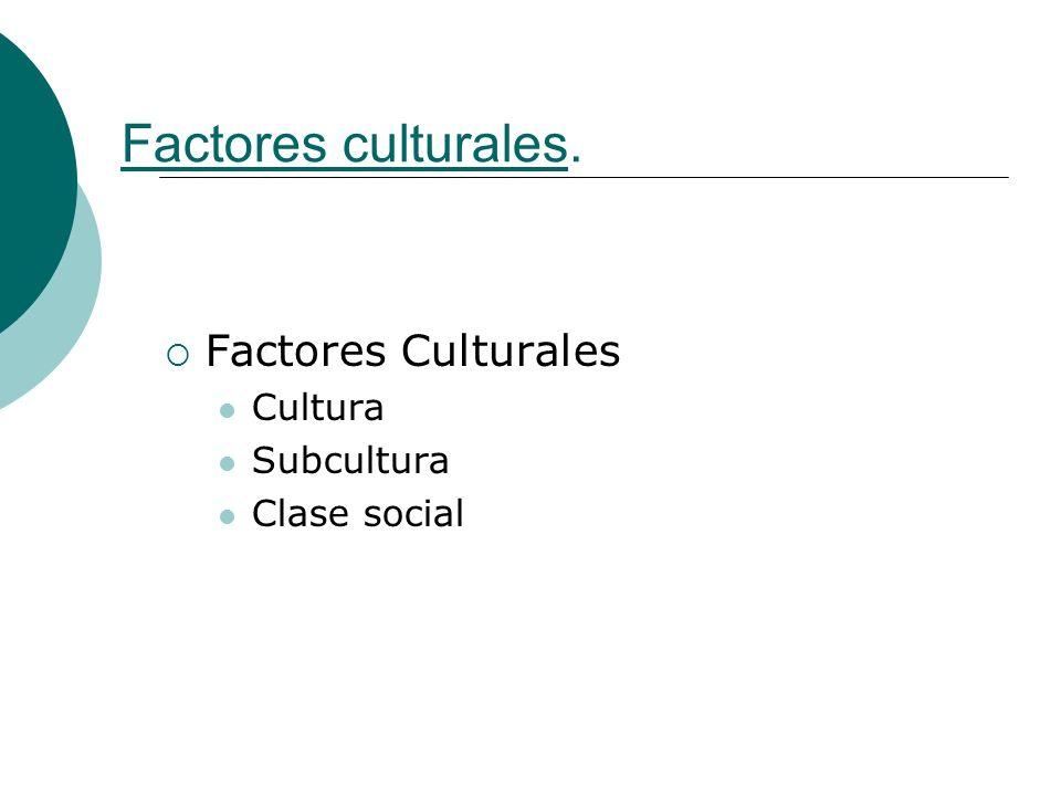 Factores culturales. Factores Culturales Cultura Subcultura Clase social