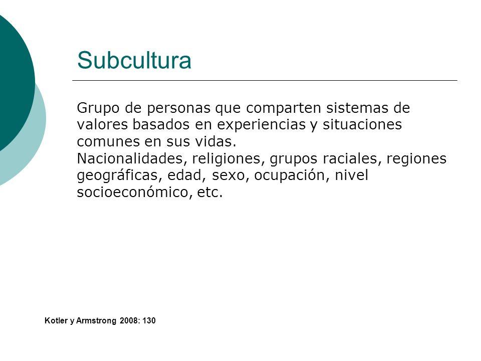Subcultura Grupo de personas que comparten sistemas de valores basados en experiencias y situaciones comunes en sus vidas. Nacionalidades, religiones,