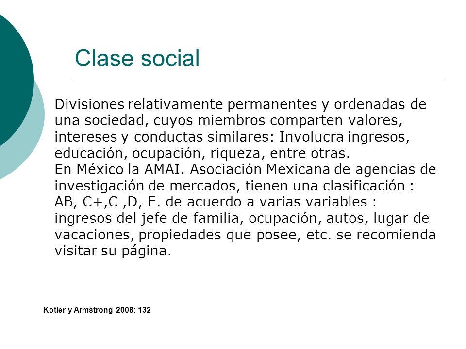 Clase social Divisiones relativamente permanentes y ordenadas de una sociedad, cuyos miembros comparten valores, intereses y conductas similares: Invo