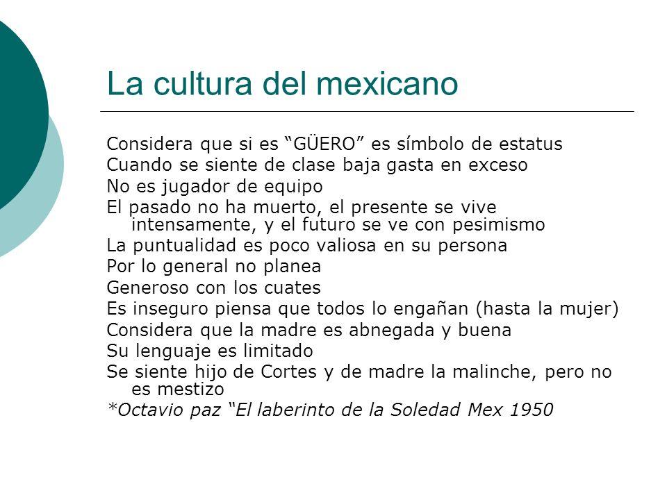 La cultura del mexicano Considera que si es GÜERO es símbolo de estatus Cuando se siente de clase baja gasta en exceso No es jugador de equipo El pasa
