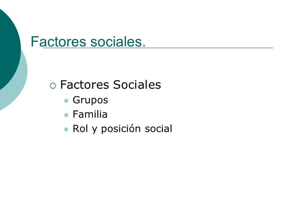 Factores sociales. Factores Sociales Grupos Familia Rol y posición social