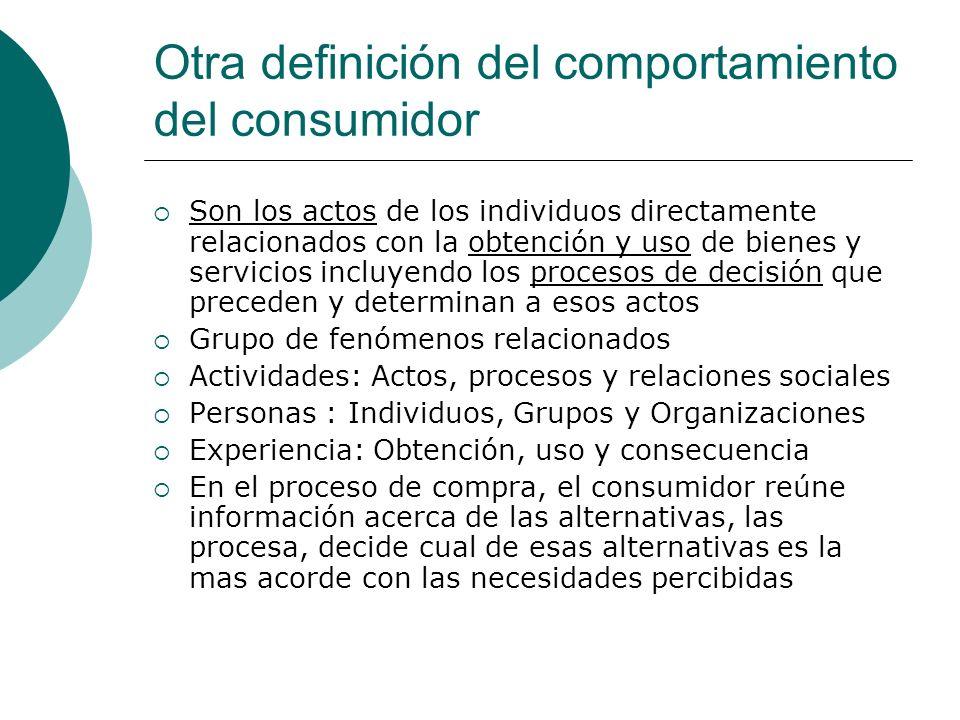 Otra definición del comportamiento del consumidor Son los actos de los individuos directamente relacionados con la obtención y uso de bienes y servici
