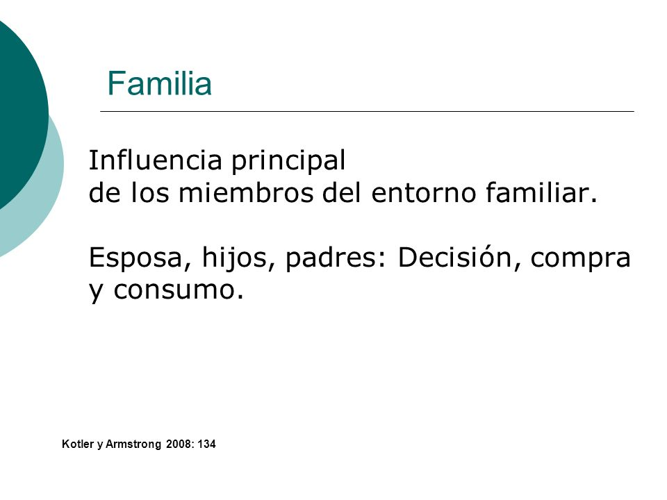 Familia Influencia principal de los miembros del entorno familiar. Esposa, hijos, padres: Decisión, compra y consumo. Kotler y Armstrong 2008: 134