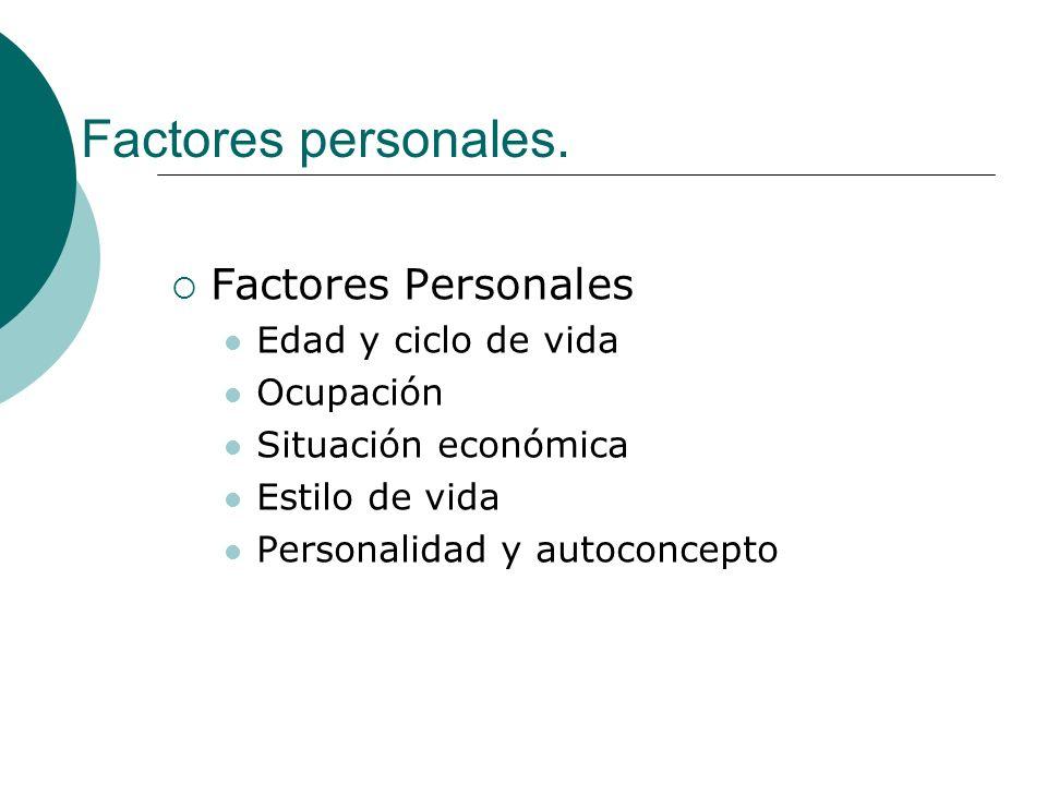 Factores personales. Factores Personales Edad y ciclo de vida Ocupación Situación económica Estilo de vida Personalidad y autoconcepto