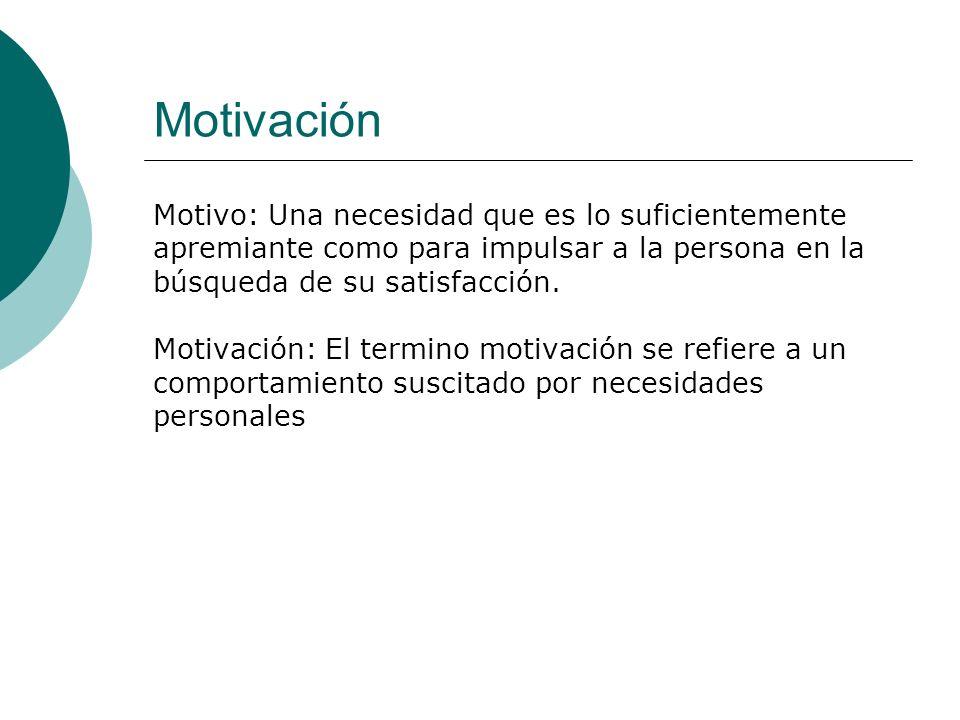 Motivación Motivo: Una necesidad que es lo suficientemente apremiante como para impulsar a la persona en la búsqueda de su satisfacción. Motivación: E