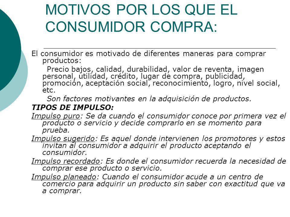 MOTIVOS POR LOS QUE EL CONSUMIDOR COMPRA: El consumidor es motivado de diferentes maneras para comprar productos: Precio bajos, calidad, durabilidad,