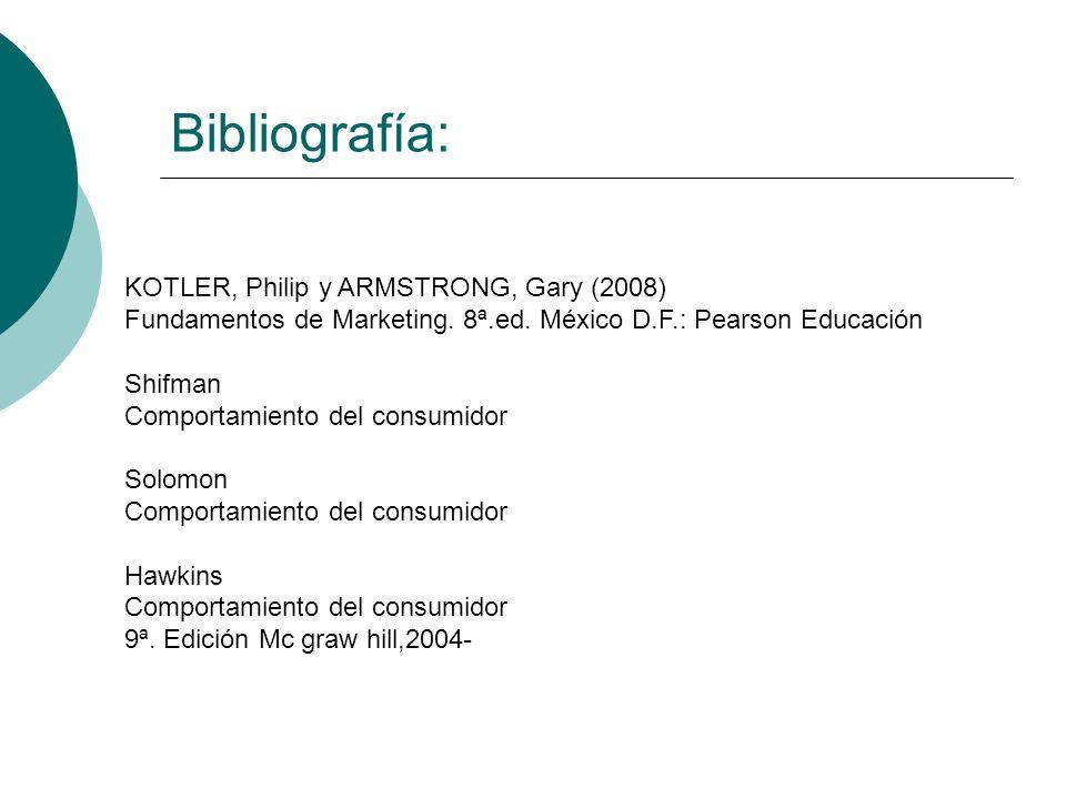 Bibliografía: KOTLER, Philip y ARMSTRONG, Gary (2008) Fundamentos de Marketing. 8ª.ed. México D.F.: Pearson Educación Shifman Comportamiento del consu