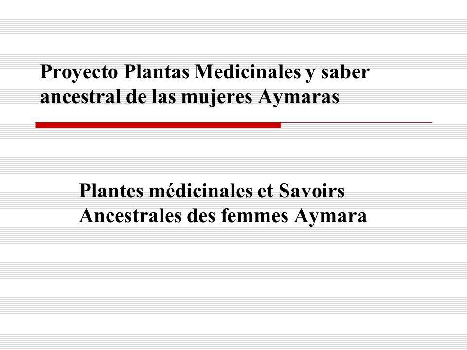 Proyecto Plantas Medicinales y saber ancestral de las mujeres Aymaras Plantes médicinales et Savoirs Ancestrales des femmes Aymara