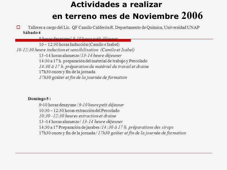 Actividades a realizar en terreno mes de Noviembre 2006 Talleres a cargo del Lic. QF Camilo Calderón R. Departamento de Química, Universidad UNAP Sába