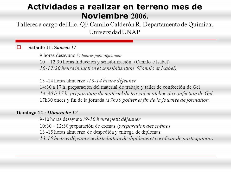 Actividades a realizar en terreno mes de Noviembre 2006. Talleres a cargo del Lic. QF Camilo Calderón R. Departamento de Química, Universidad UNAP Sáb
