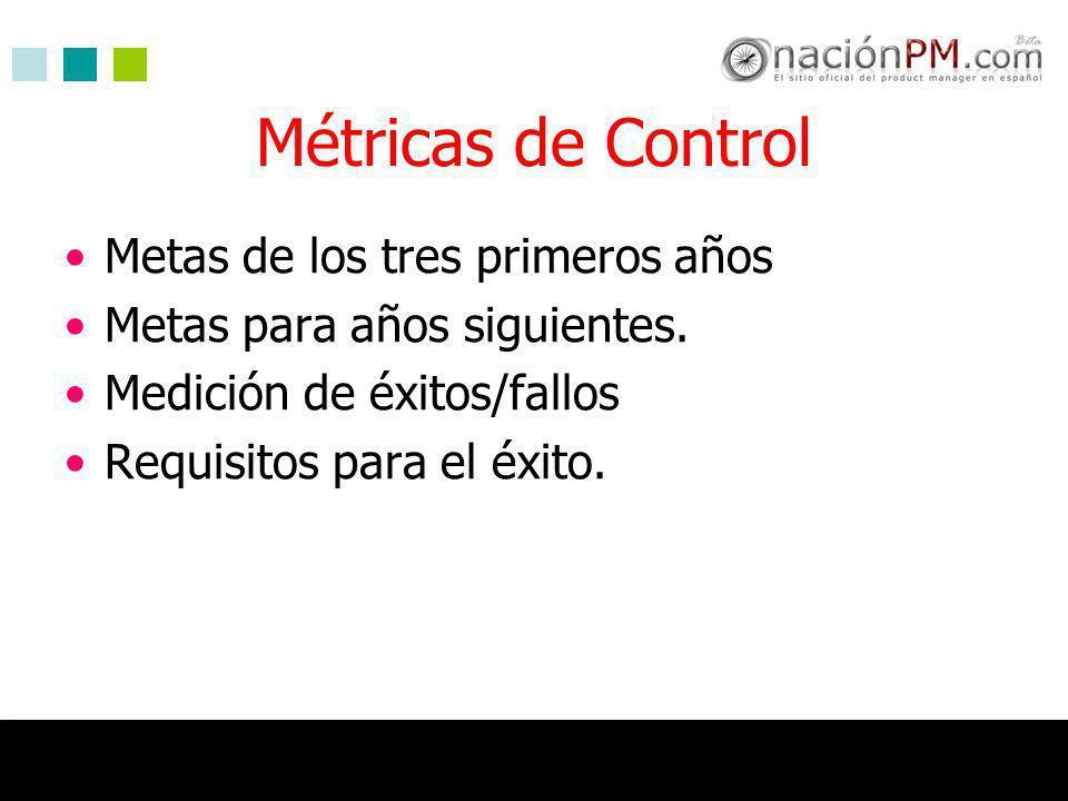 Métricas de Control Metas de los tres primeros años Metas para años siguientes. Medición de éxitos/fallos Requisitos para el éxito.