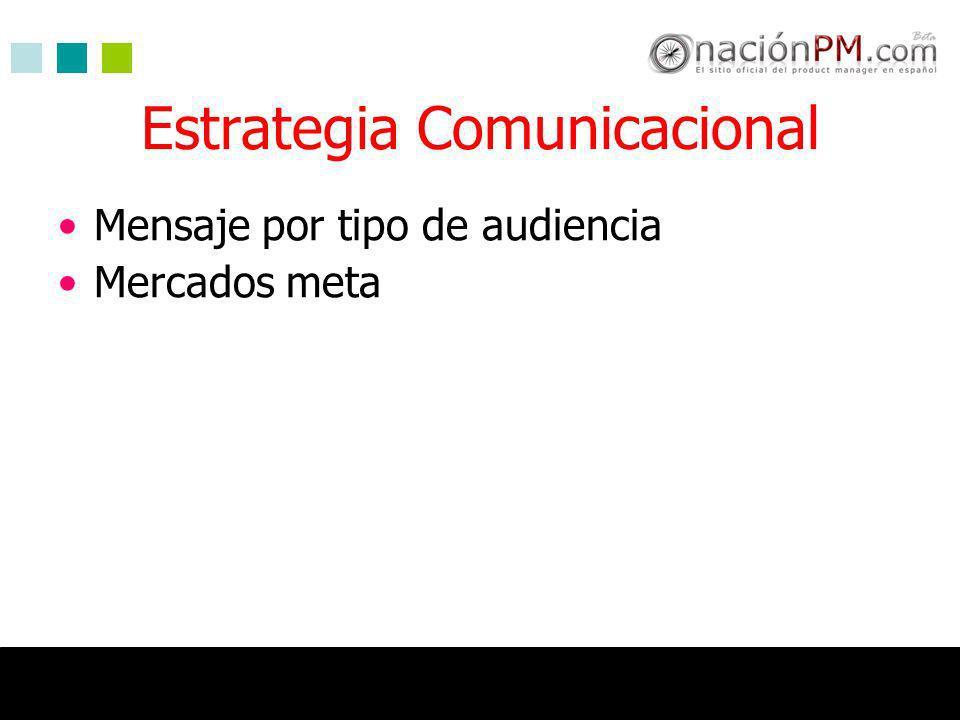 Estrategia Comunicacional Mensaje por tipo de audiencia Mercados meta