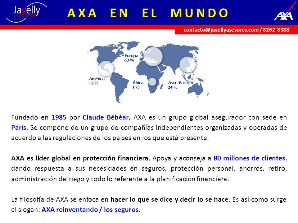 Fundado en 1985 por Claude Bébéar, AXA es un grupo global asegurador con sede en París. Se compone de un grupo de compañías independientes organizadas