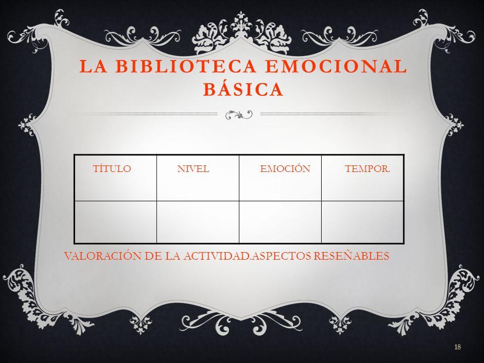 18 LA BIBLIOTECA EMOCIONAL BÁSICA TÍTULO NIVEL EMOCIÓN TEMPOR. VALORACIÓN DE LA ACTIVIDAD.ASPECTOS RESEÑABLES