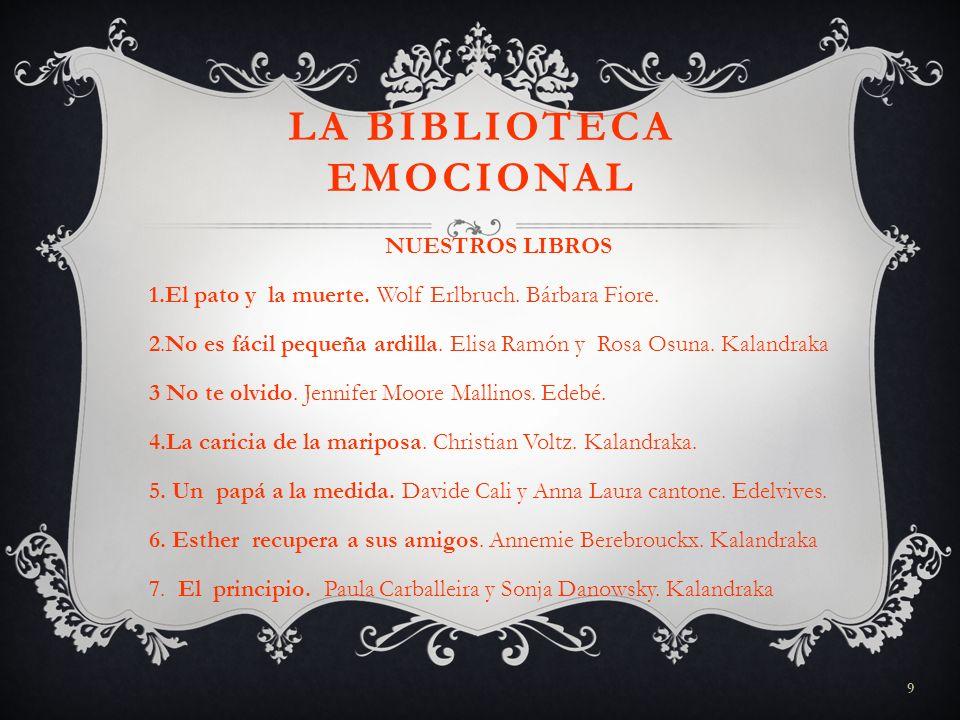 9 LA BIBLIOTECA EMOCIONAL NUESTROS LIBROS 1.El pato y la muerte. Wolf Erlbruch. Bárbara Fiore. 2.No es fácil pequeña ardilla. Elisa Ramón y Rosa Osuna