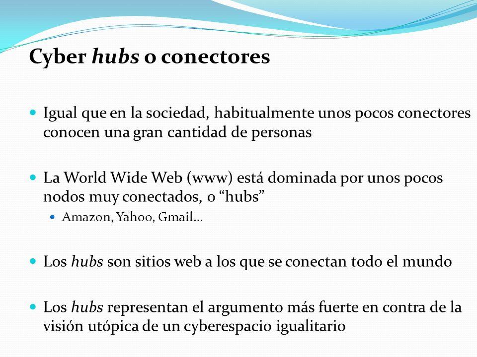 Cyber hubs o conectores Igual que en la sociedad, habitualmente unos pocos conectores conocen una gran cantidad de personas La World Wide Web (www) es