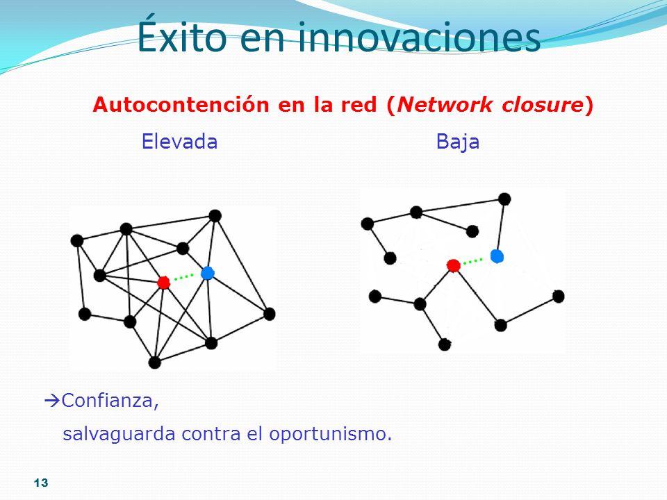 13 Éxito en innovaciones Autocontención en la red (Network closure) Elevada Baja Confianza, salvaguarda contra el oportunismo.