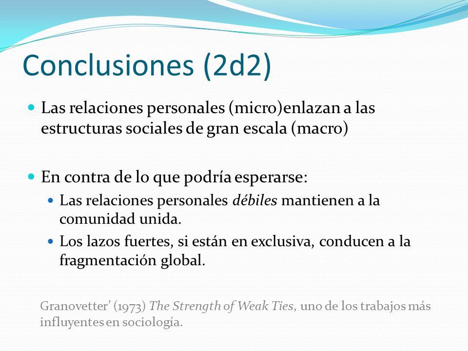 Conclusiones (2d2) Las relaciones personales (micro)enlazan a las estructuras sociales de gran escala (macro) En contra de lo que podría esperarse: La