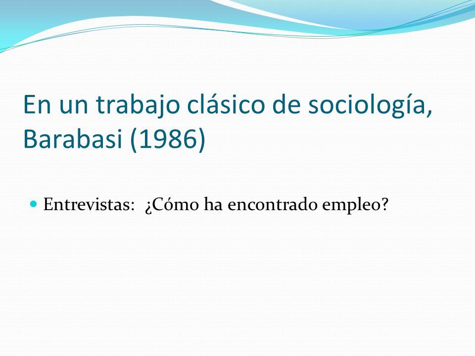 En un trabajo clásico de sociología, Barabasi (1986) Entrevistas: ¿Cómo ha encontrado empleo?