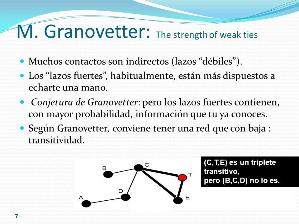 7 M. Granovetter: The strength of weak ties Muchos contactos son indirectos (lazos débiles). Los lazos fuertes, habitualmente, están más dispuestos a