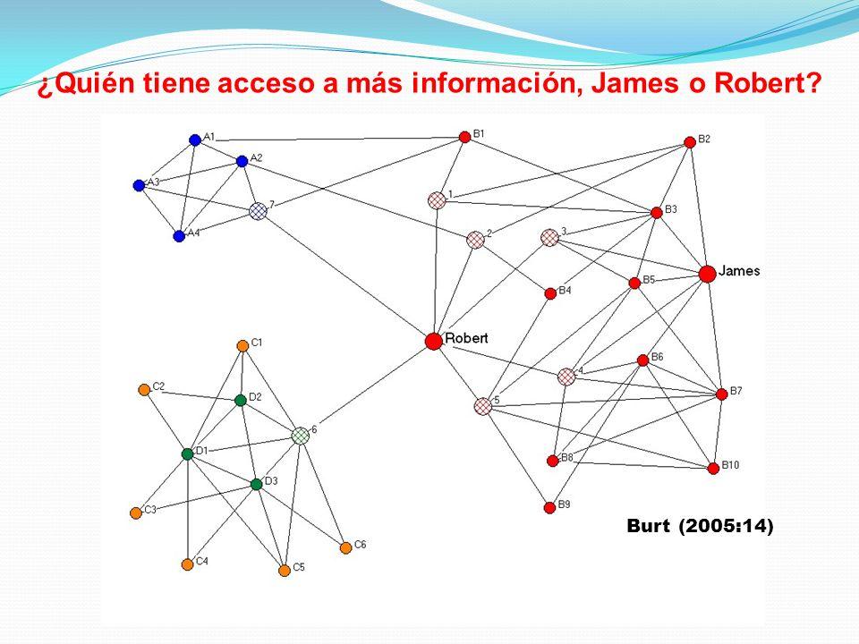 ¿Quién tiene acceso a más información, James o Robert? Burt (2005:14)