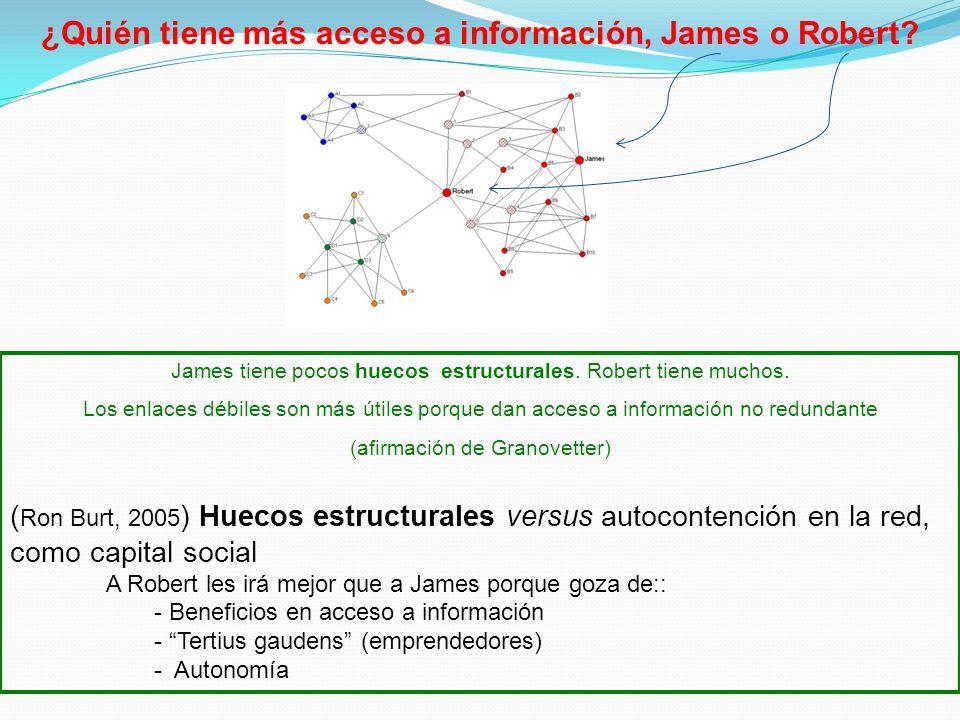 ¿Quién tiene más acceso a información, James o Robert? James tiene pocos huecos estructurales. Robert tiene muchos. Los enlaces débiles son más útiles