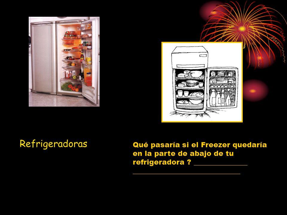 Refrigeradoras Qué pasaría si el Freezer quedaría en la parte de abajo de tu refrigeradora ? _______________ ______________________________