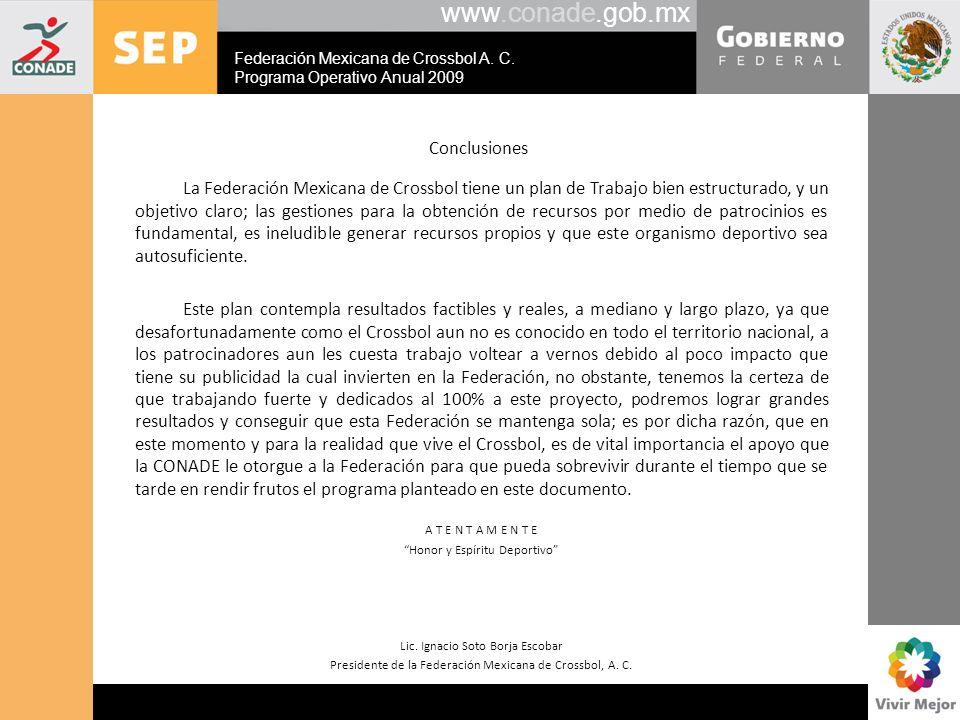 www.conade.gob.mx Conclusiones La Federación Mexicana de Crossbol tiene un plan de Trabajo bien estructurado, y un objetivo claro; las gestiones para
