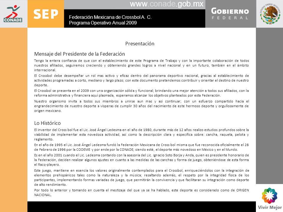 www.conade.gob.mx Presentación Mensaje del Presidente de la Federación Tengo la entera confianza de que con el establecimiento de este Programa de Tra