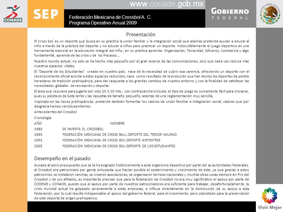 www.conade.gob.mx Presentación El Cross bol, es un deporte que busca en su práctica la unión familiar y la integración social que además pretende ayud