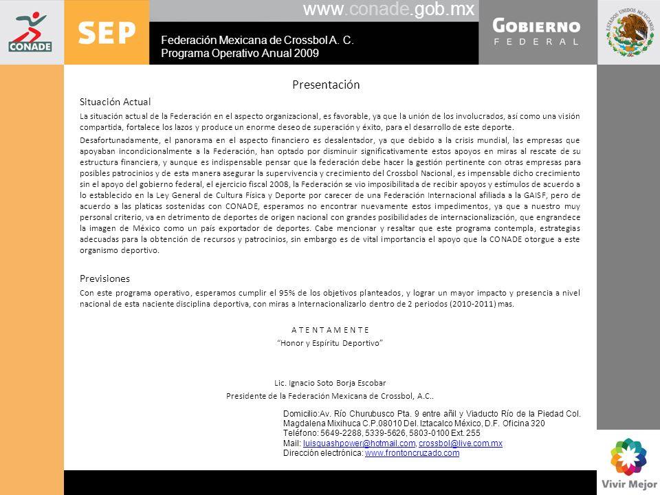 www.conade.gob.mx Presentación Situación Actual La situación actual de la Federación en el aspecto organizacional, es favorable, ya que la unión de lo