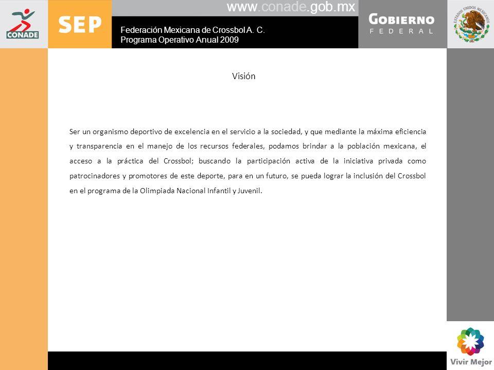 www.conade.gob.mx Visión Ser un organismo deportivo de excelencia en el servicio a la sociedad, y que mediante la máxima eficiencia y transparencia en