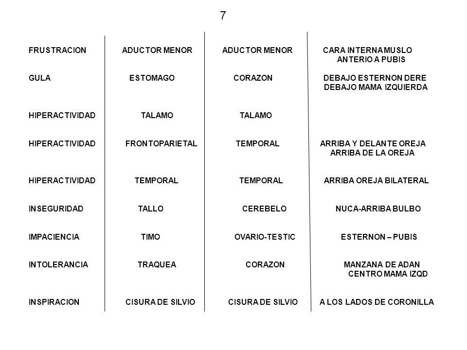 Estómago Corazón FRUSTRACION Aductor menor IMPACIENCIA INTOLERANCIA HIPERACTIVIDAD INSEGURIDAD INSPIRACION HIPERACTIVIDAD Tallo Cerebelo Temporal Fronto Parietal Temporal Timo Ovario(Testiculo ) Traquea Corazon Cisura Silvio Talamo GULA 8