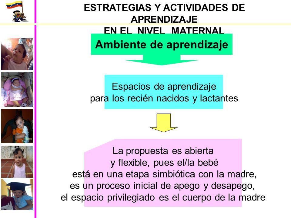 ESTRATEGIAS Y ACTIVIDADES DE APRENDIZAJE EN EL NIVEL MATERNAL Juegos para niños/as lactante mayor Actividades sensorias motrices Permitir que lo explore.