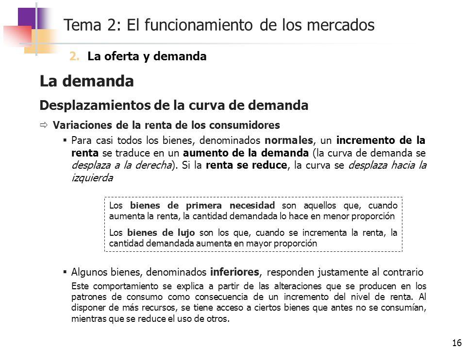 Tema 2: El funcionamiento de los mercados 16 La demanda Desplazamientos de la curva de demanda Variaciones de la renta de los consumidores Para casi t