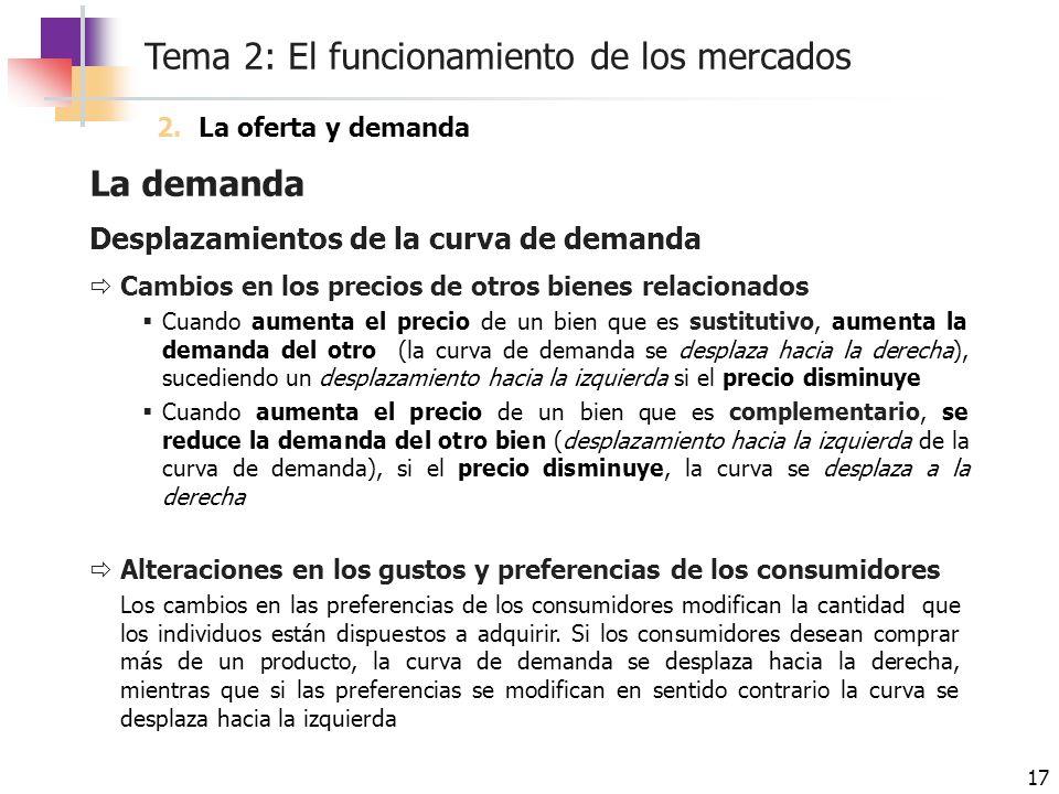 Tema 2: El funcionamiento de los mercados 17 La demanda Desplazamientos de la curva de demanda Cambios en los precios de otros bienes relacionados Cua