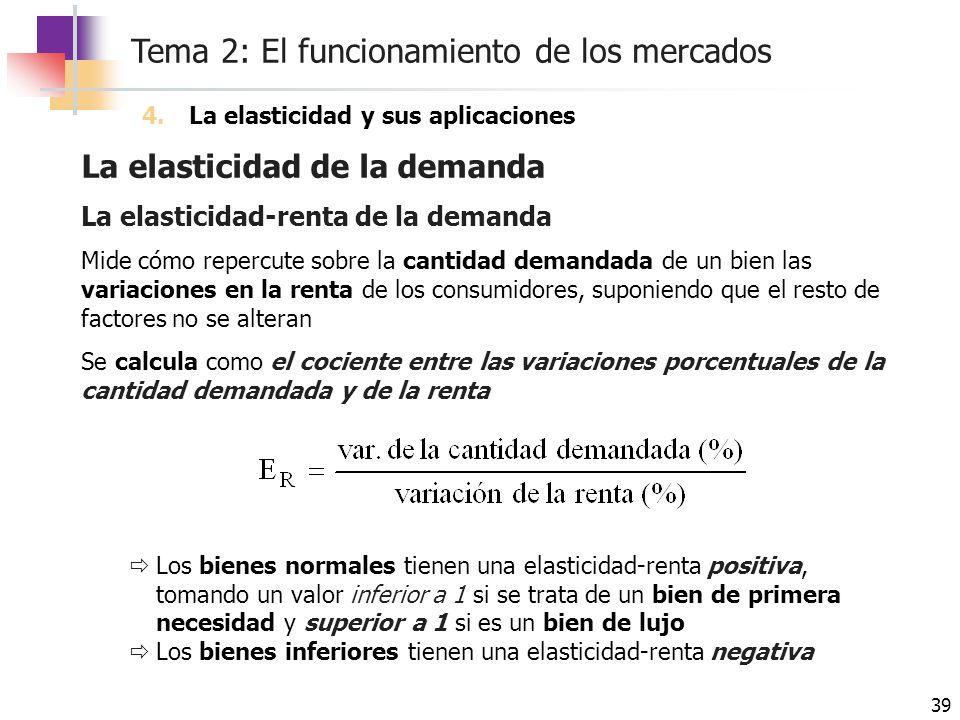 Tema 2: El funcionamiento de los mercados 39 La elasticidad de la demanda 4.La elasticidad y sus aplicaciones La elasticidad-renta de la demanda Mide
