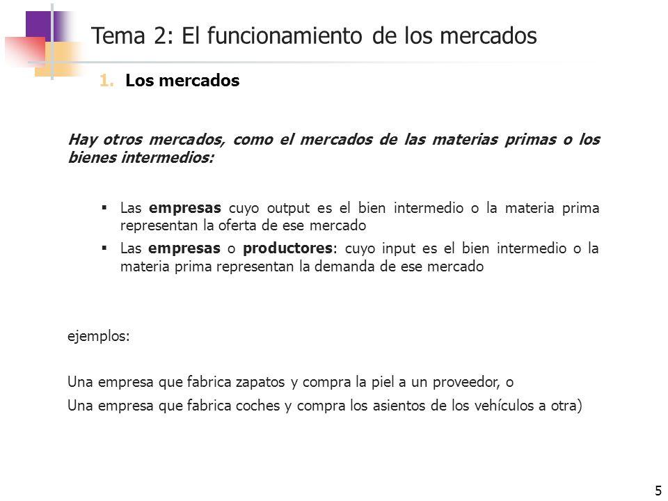 Tema 2: El funcionamiento de los mercados 5 Hay otros mercados, como el mercados de las materias primas o los bienes intermedios: Las empresas cuyo ou