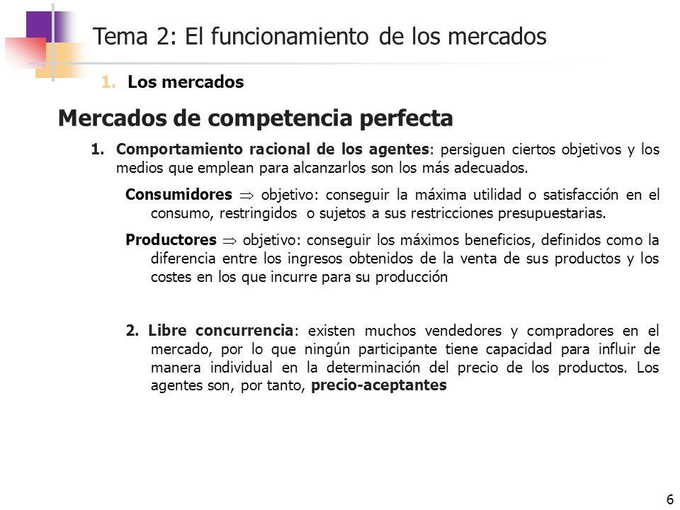 Tema 2: El funcionamiento de los mercados 17 La demanda Desplazamientos de la curva de demanda Cambios en los precios de otros bienes relacionados Cuando aumenta el precio de un bien que es sustitutivo, aumenta la demanda del otro (la curva de demanda se desplaza hacia la derecha), sucediendo un desplazamiento hacia la izquierda si el precio disminuye Cuando aumenta el precio de un bien que es complementario, se reduce la demanda del otro bien (desplazamiento hacia la izquierda de la curva de demanda), si el precio disminuye, la curva se desplaza a la derecha Alteraciones en los gustos y preferencias de los consumidores Los cambios en las preferencias de los consumidores modifican la cantidad que los individuos están dispuestos a adquirir.