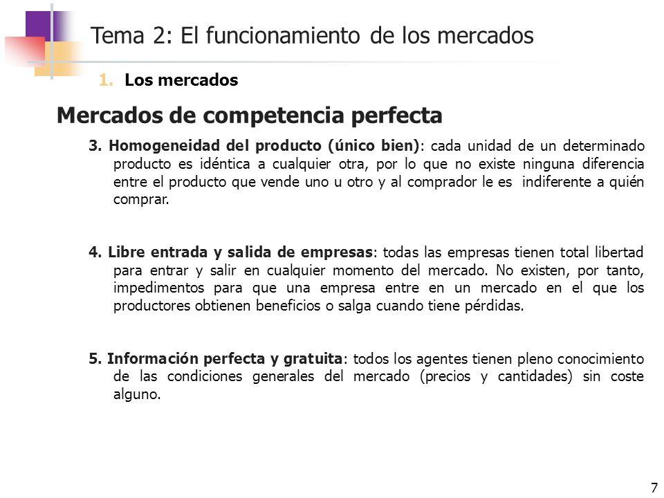 Tema 2: El funcionamiento de los mercados 7 Mercados de competencia perfecta 3. Homogeneidad del producto (único bien): cada unidad de un determinado