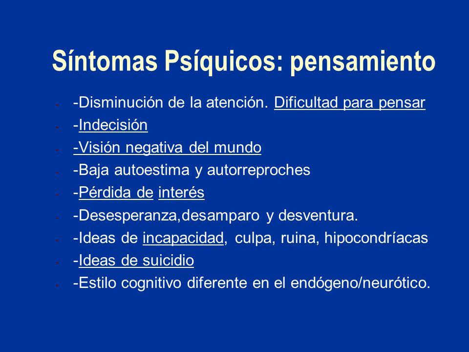 Síntomas Psíquicos: pensamiento - -Disminución de la atención. Dificultad para pensar - -Indecisión - -Visión negativa del mundo - -Baja autoestima y