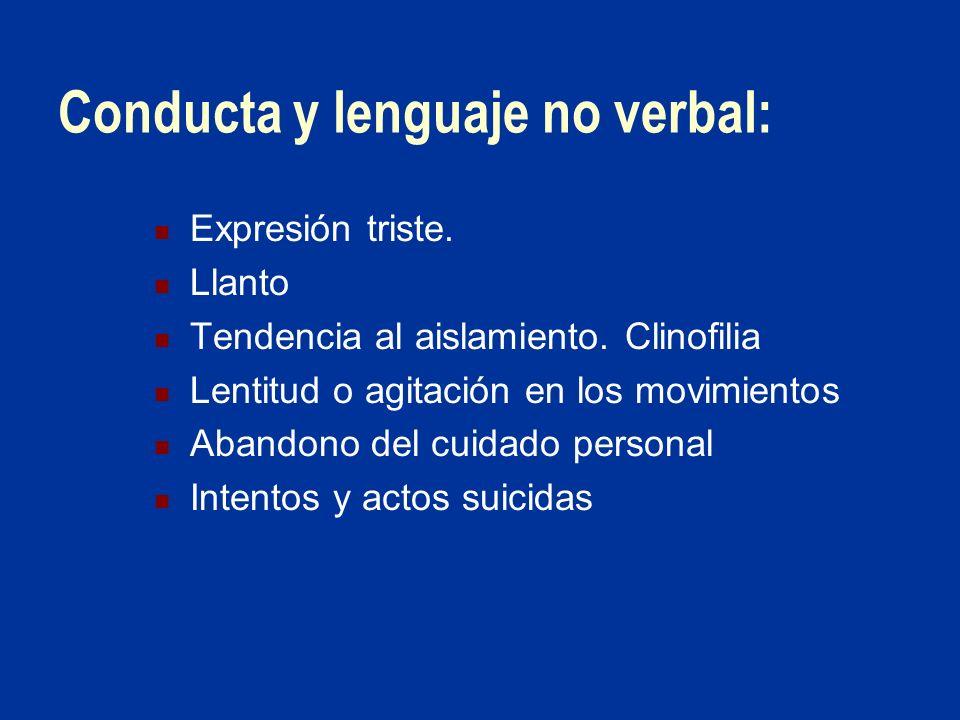 Conducta y lenguaje no verbal: Expresión triste. Llanto Tendencia al aislamiento. Clinofilia Lentitud o agitación en los movimientos Abandono del cuid