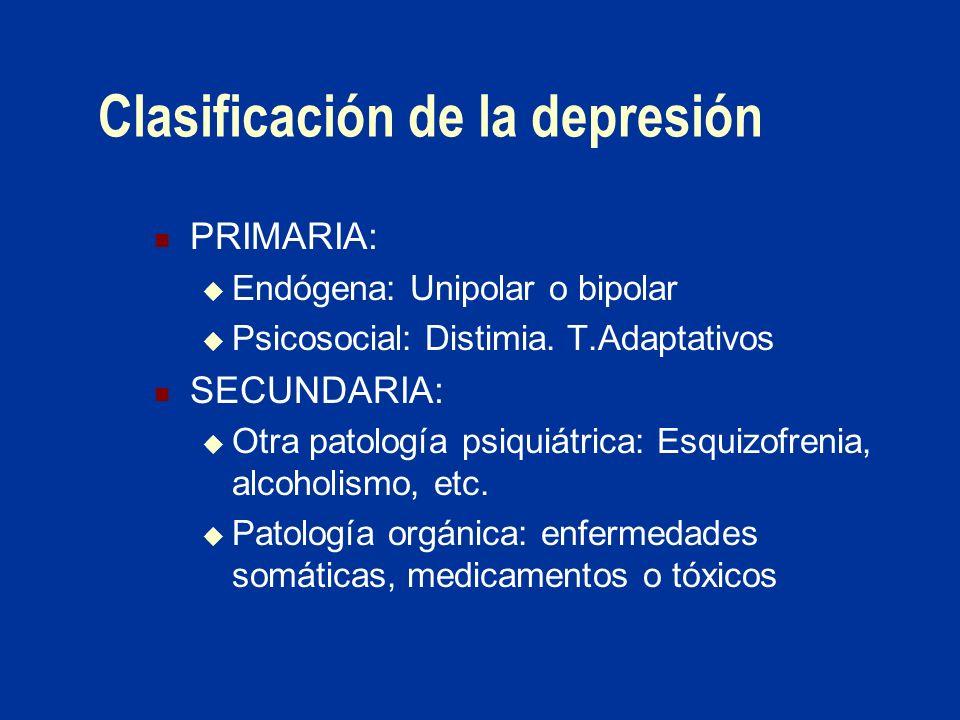 Clasificación de la depresión PRIMARIA: Endógena: Unipolar o bipolar Psicosocial: Distimia. T.Adaptativos SECUNDARIA: Otra patología psiquiátrica: Esq