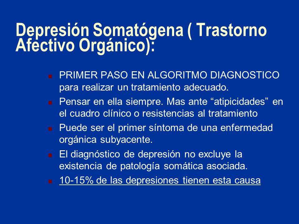 Depresión Somatógena ( Trastorno Afectivo Orgánico): PRIMER PASO EN ALGORITMO DIAGNOSTICO para realizar un tratamiento adecuado. Pensar en ella siempr