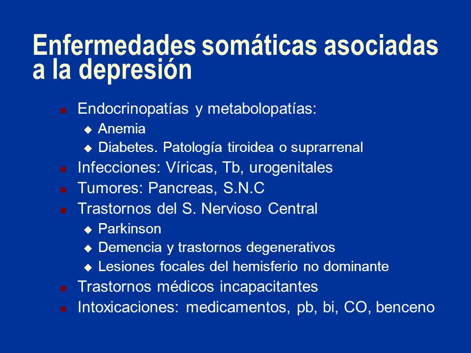 Enfermedades somáticas asociadas a la depresión Endocrinopatías y metabolopatías: Anemia Diabetes. Patología tiroidea o suprarrenal Infecciones: Víric