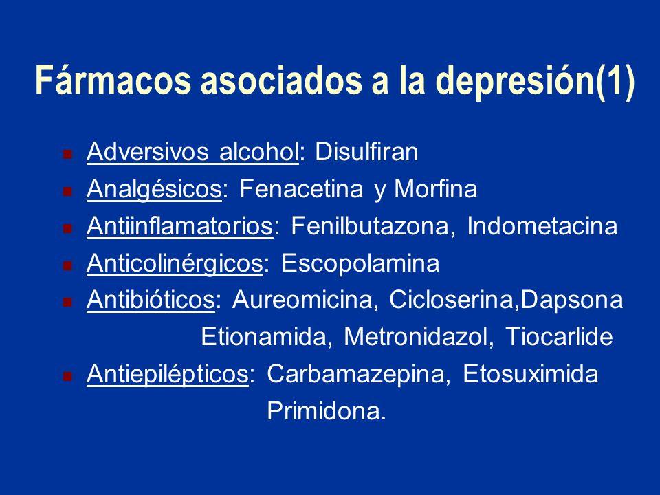 Fármacos asociados a la depresión(1) Adversivos alcohol: Disulfiran Analgésicos: Fenacetina y Morfina Antiinflamatorios: Fenilbutazona, Indometacina A