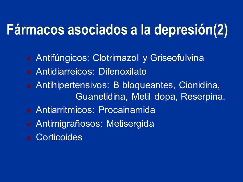 Fármacos asociados a la depresión(2) Antifúngicos: Clotrimazol y Griseofulvina Antidiarreicos: Difenoxilato Antihipertensivos: B bloqueantes, Cionidin