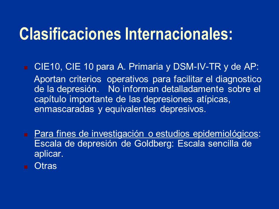 Clasificaciones Internacionales: CIE10, CIE 10 para A. Primaria y DSM-IV-TR y de AP: Aportan criterios operativos para facilitar el diagnostico de la