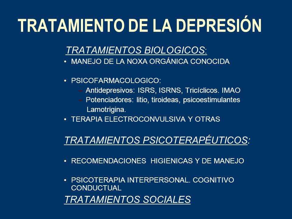 TRATAMIENTO DE LA DEPRESIÓN TRATAMIENTOS BIOLOGICOS : MANEJO DE LA NOXA ORGÁNICA CONOCIDA PSICOFARMACOLOGICO: –Antidepresivos: ISRS, ISRNS, Tricíclico